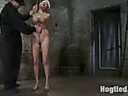 Rope and forced to suck cock