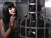 Submissive in latex trapped