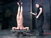 Blonde submissive suspended