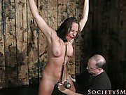 Brunette in bondage