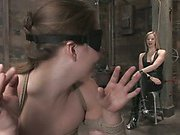 Blindfolded slavegirl coaxed