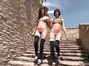 Bobbi Starr and Liz walking