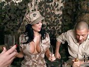 Two army girls and guy