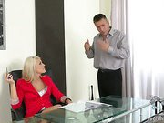 Lady boss humiliates a boy
