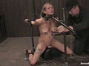 Hot Blond bound and trapped on Sybian