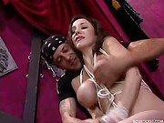 Bound tits get punished