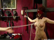 Sexy blindfolded slave