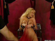 Slavegirl chained up and flogged