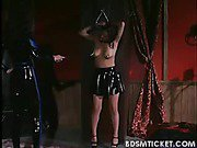 Slave is chained and titty whipped