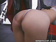 Blonde gets paddled on her ass