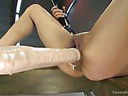 Tiny Latina hottie spreads for a machine fucking