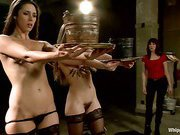 Two lingerie models receive punished and fucked by Maitresse