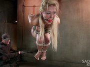 Hot blond with large zeppelins in Brutal Predicament Bondage