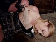 Sexy blonde with Little milk sacks Manhandled!