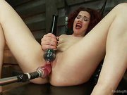 Ingrid Mouth's Caged pussy is machine fucked while she comes