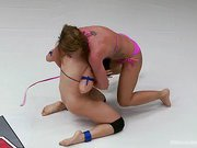 Lea Lexis and Savannah Fox Wrestle Naked and fight for a sex