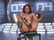 Ebony Squirt Slut Soaks Fucking Machines with Her Cum Love
