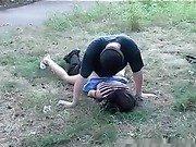 Outdoors fuck scene with a leggy teen
