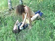 Chick getting raped in the forest