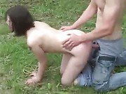 Outdoors rape scene with a brunette