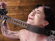 Charlotte Sartre Bound In Pipe And Chains - Kink