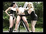 Mistress pulling chained cock to punish place