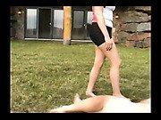 Raina kicking her slave ball more and more