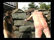 Mistress jean beating his slave wound ass