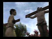Mistress put her slave on cross for torture