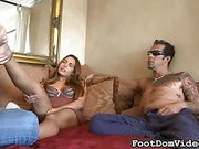 Peverted couple likes footworship cuckolding