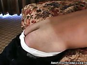 Trampling mistress canned her footdom slave