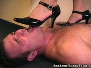 High heel shoes worship from slave