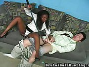 Ebony mistress canning and spanking cock