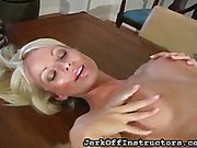 Blonde teased on the table