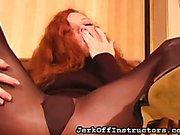 Redhead slut show how JO