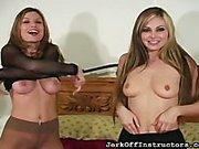 Busty lesbians put off panties