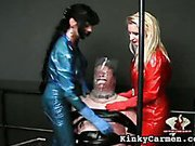 Ball-busted dick-tortured slave in the dungeon