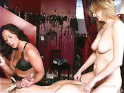 Balls pinching and blowjob for slave