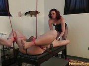 Hardcore strap-on sex for male slave