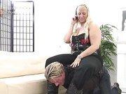 Fat blonde sat on slave