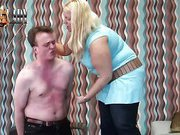 Blonde fatty abused poor man