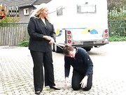 Slave abusing on the street