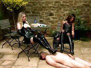 Dom mistresses trample sub and tease his cock