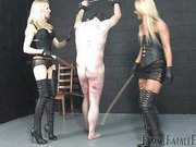 Mistresses giving slave bad whipping
