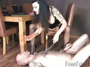 Old tattooed slave getting tortured