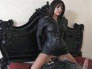 Painful handjob from leather mistress