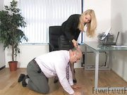 Old slave disciplined by blonde