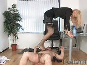 Old slave disciplined by blonde