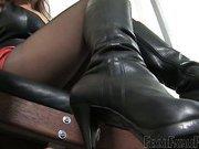 Strict mistress training her slave