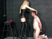 Nude slave getting face slapping